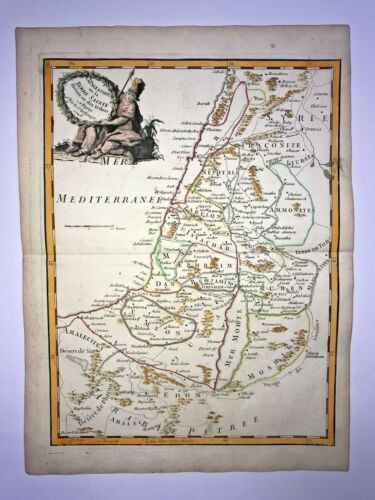 HOLY LAND with 10 TRIBES 1746 by LE ROUGE ANTIQUE ENGRAVED MAP 18TH CENTURY