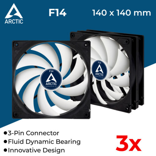 3x 140mm Ultra Quiet Cooling Fan Silent Fans for Computer Case Cooler 3-Pin 12V