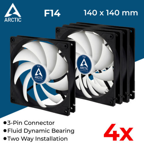 4x Computer Case Fan PC 140mm 3-Pin 12V Silent Fans Fluid Bearing Arctic Cooling