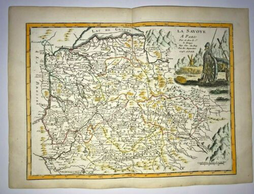 SAVOYE FRANCE ITALY 1743 Georges-Louis LE ROUGE ANTIQUE MAP 18TH CENTURY