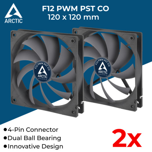 2x 120mm PC Case Cooling Fan Silent Fans for Computer Case Cooler 4-Pin 12V Ball
