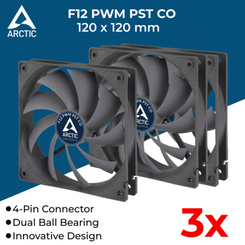 3x 120mm Computer Case Fan Silent Fan for PC Case Arctic Cooling F12 PWM PST CO