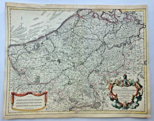 FLANDERS DATED 1704 GUILLAUME DELISLE LARGE ANTIQUE ENGRAVED MAP 18e CENTURY