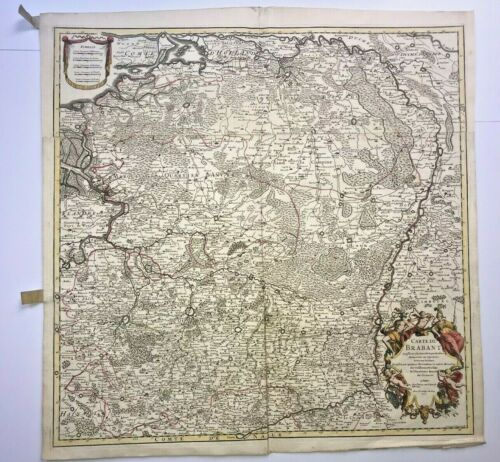 BRABANT BELGIUM HOLLAND DATED 1705 GUILLAUME DELISLE VERY LARGE ANTIQUE MAP