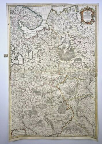 RUSSIA MOSCOVIA DATED 1706 GUILLAUME DELISLE VERY LARGE ANTIQUE MAP