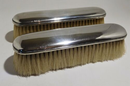 Antique sterling silver back pure bristle pair clothes brushes..c 1909 London