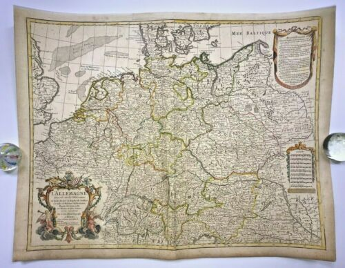GERMANY 1701 GUILLAUME DELISLE LARGE ANTIQUE ENGRAVED MAP 18TH CENTURY
