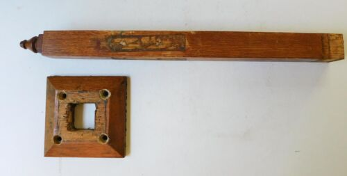 Antique Oak Wood Post With Finial Square Flange Base Salvage