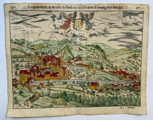 BADEN SWISS 1552 COSMOGRAPHY OF MUNSTER LARGE ANTIQUE VIEW 16TH CENTURY