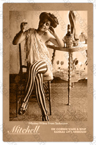 """WHISKEY WILMA FROM SASKATOON Old West """"Hostess"""" Humor Cabinet Card Photo RP"""