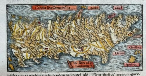 CREETE GREECE 1552 COSMOGRAPHY OF MUNSTER UNUSUAL ANTIQUE MAP 16TH CENTURY