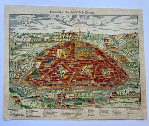 CHARTRES FRANCE 1575 BELLEFOREST/MUNSTER LARGE ANTIQUE VIEW 16TH CENTURY