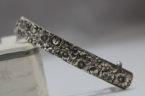 Sterling Silver, Barrette, Hand Crafted, Jewelry, Repousse, Flowers,