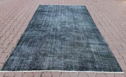 Anatolian Gray Overdyed Carpet Bohemian Hand Knotted Vintage Wool Area Rug 6x8ft