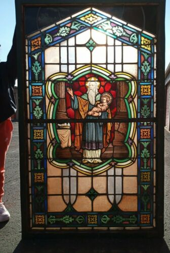 """67"""" Antique Stained Glass Window St Joseph Christ Child  Gothic Ca. 1900 We Ship"""
