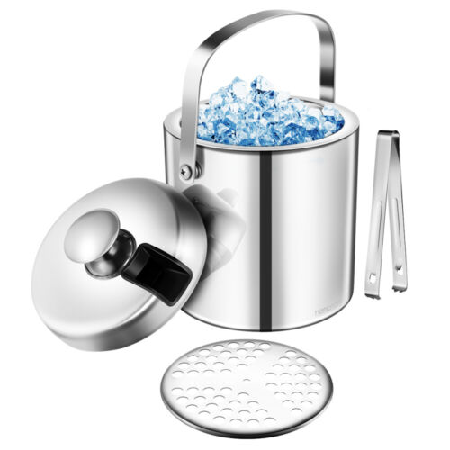 Hemoton DoubleWall Stainless Steel Insulated Chilling Ice Bucket Lid Tong Handle