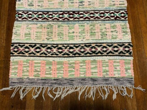 Sweet Antique Swedish Hand Made Rag Rug (30.5 x 66 inches each)