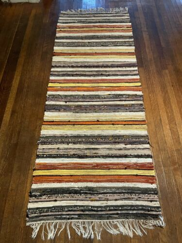Excellent Antique Swedish Hand Made Rag Rug (30 x 78 inches each)