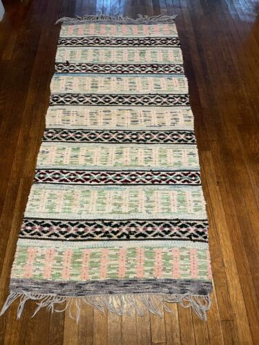 Stunning Antique Swedish Hand Made Rag Rug (31 x 68 inches each)