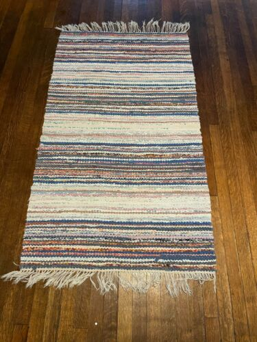 Awesome Antique Swedish Hand Made Rag Rug (30 x 51.5 inches each)