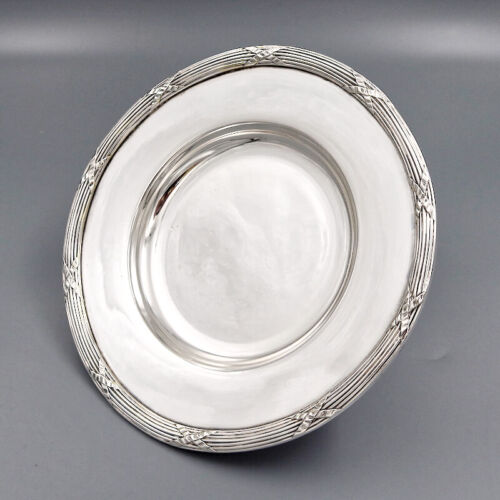 ANTIQUE FRENCH SILVER PLATED FOOTED SERVING DISH BOWL CENTERPIECE TAZZA PEDESTAL