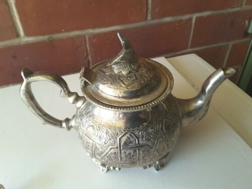Vintage Teapot SILVER Plate  MOROCCAN  MANCHESTER  BIRD  ORNATE  PATTERNED