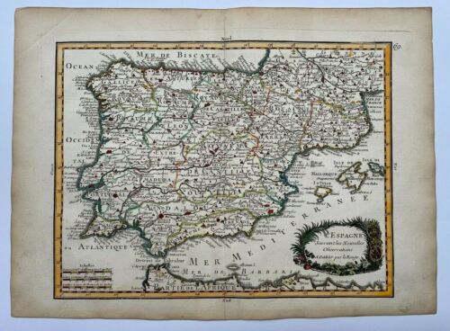 SPAIN PORTUGAL 1743 by LE ROUGE ANTIQUE ENGRAVED MAP 18TH CENTURY