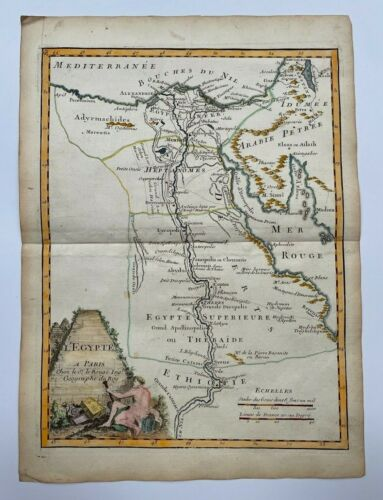 EGYPT 1743 by LE ROUGE ANTIQUE ENGRAVED MAP 18TH CENTURY