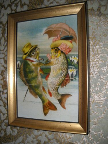 DRESSED FISH HOLD FINS 4 X 6 gold WOOD framed picture Victorian style art print