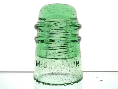 AWESOME FIZZY BUBBLY DOME STREAKS DK LIME GREEN McLAUGHLIN Glass Toll Insulator