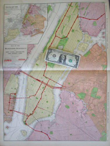 NY 1909 DATED NYC NEW YORK CITY, BROOKLYN, JERSEY CITY BUSINESS DISTRICT Map