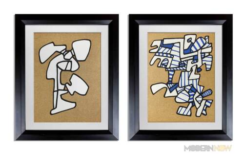 2 Jean Dubuffet LITHOGRAPH Limited EDITION - VAcuum Forms (set of 2) + FRAME