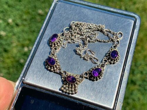 LADIES NECKLACE JEWELLERY 925 SILVER GEMSTONE BEADED COLLECTABLE VINTAGE DECOR