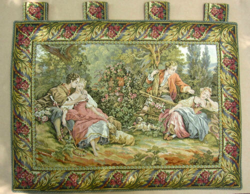 Vintage English Tapestry, Pastoral Courting Scene, Lovers, Sheep, Lambs& Dog