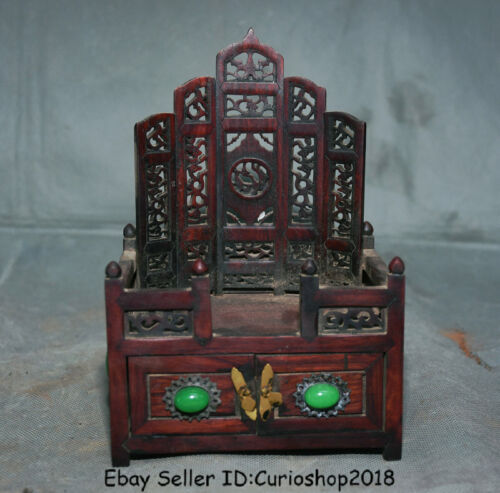 """6.8""""Old Chinese Rosewood Wood Inlay Gem Dynasty drawer Shrines Antique furniture"""