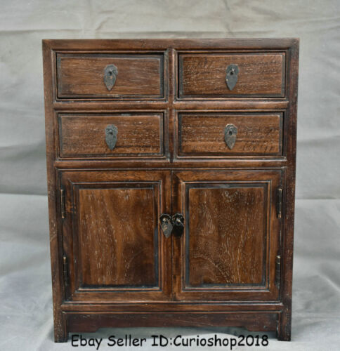 """16"""" Antique Chinese Huanghuali Wood Dynasty 4 drawer cupboard cabinet furniture"""