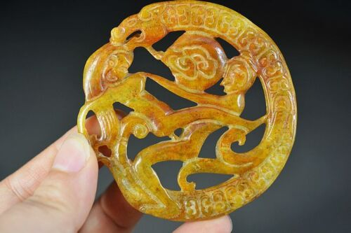 Amazing Chinese Old Jade Carved * Dragon & Sexy Man Woman* Pendant D29
