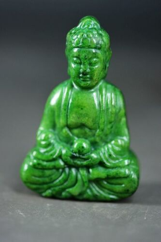Delicate Chinese Green Old Jade Carved *Buddha* Pendant/Statue D29