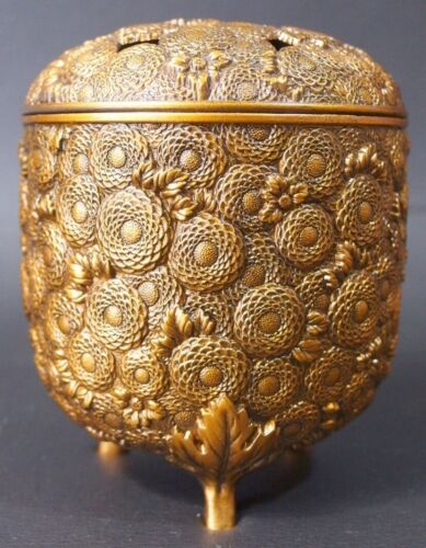 JAPANESE INCENSE BURNER MANY CHRYSANTHEMUMS COPPER ALLOY 4.1 inch TALL by KOSAI