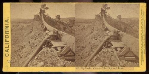 STEREOVIEW PHOTOGRAPH HYDRAULIC MINING THE PIPE & TANK CALIFORNIA 1866