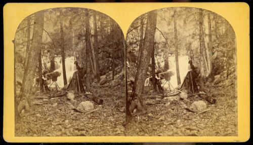STEREOVIEW PHOTOGRAPH PHOTOGRAPHER WITH CAMERA & DARK TENT CALIFORNIA ? COLORADO <br/> POSSIBLE CARLETON WATKINS WESTERN VIEW 1870's