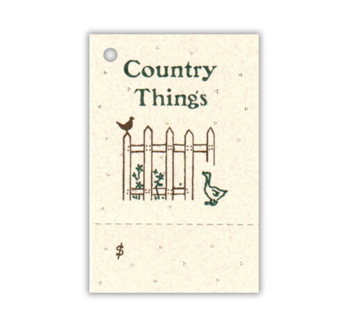 100 HANG TAGS  COUNTRY THINGS PERFORATED VINTAGE CUTE~
