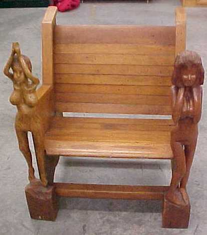 RARE 1 on earth!! Nude Woman Wooden folk art chair Bar