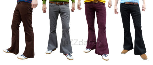 Mens Flares Bell Bottoms vtg Cords indie Mod Hippy Flared Pants Corduroy 60s 70s <br/> ALL SIZES - BROWN BLACK RED WINE NAVY GREEN TAN