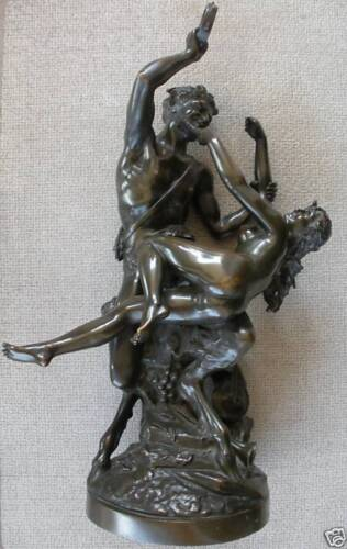19TH CENTURY FRENCH BRONZE FAUN PAN NUDE LADY CLODION !