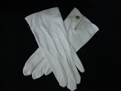 Mens' gloves formal parade white dress  all cotton with snaps sz S-XL NEW