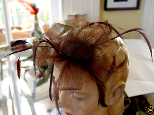 CHOCOLATE BROWN MESH and FEATHER FASCINATOR
