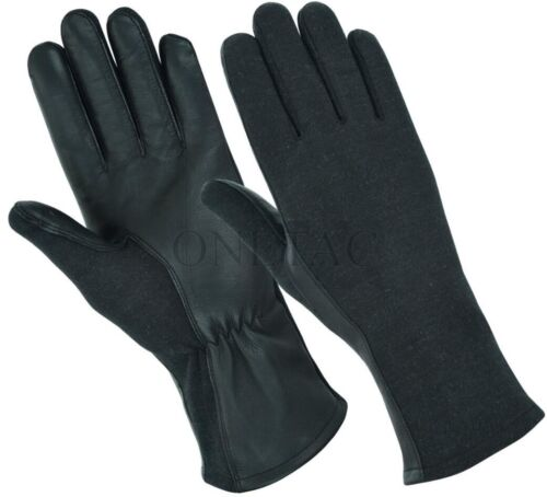 BLACK NOMEX FLIGHT PILOT FIRE RESISTANT TACTICAL LEATHER GLOVES - ALL SIZES