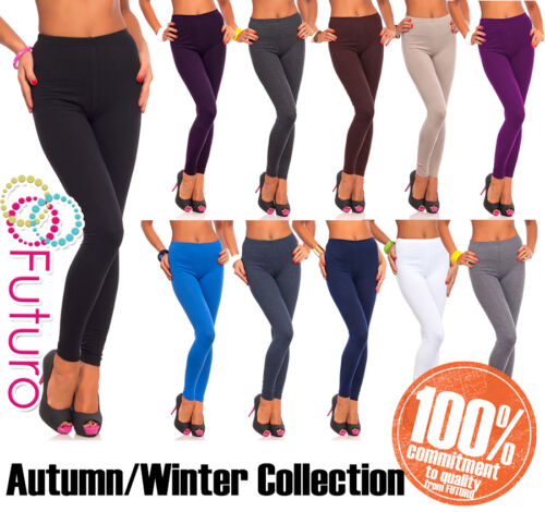 Womens Thick Warm Cotton Full Length Leggings UK Size 6-22 & All Colours