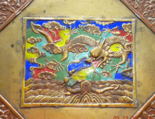 ANTIQ. CHINESE BRASS COPPER DRESSER BOX CLOISONNE CHINA